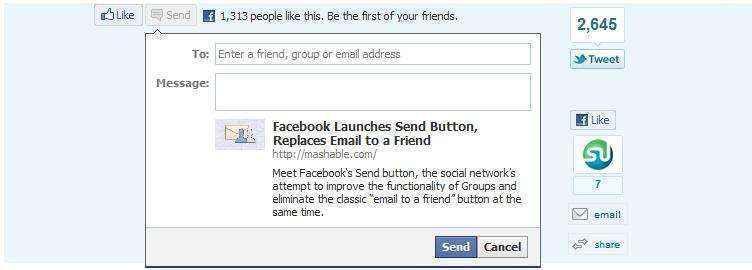 """Nueva versión del botón """"Enviar"""" de Facebook"""