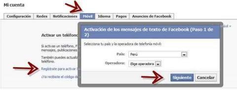 Activar mensajes texto Facebook