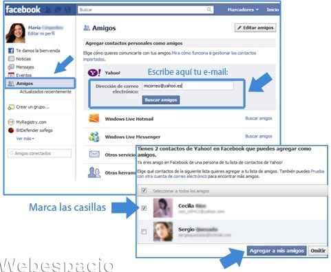 buscar amigos de facebook por correo