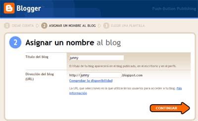 asignar nombre para crear un blog