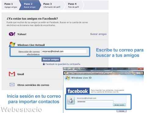 completar perfil facebook buscar