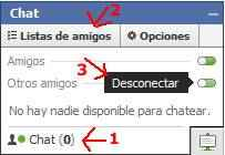desconectar listas chat facebook