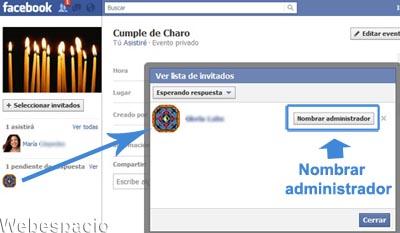nombrar administardor de evento facebook