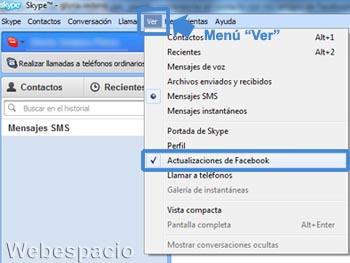 como conectar facebook con skype