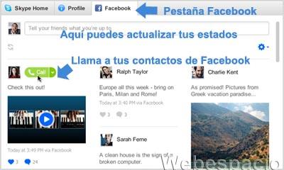 llamar contactos facebook desde skype