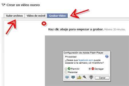 subir archivos o grabar video en Facebook