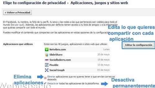 controla privacidad en aplicaciones facebook