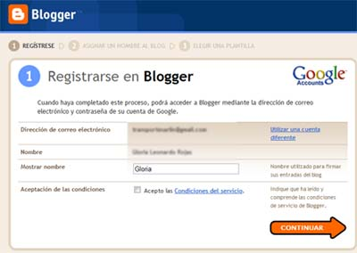 registrarse en blogger