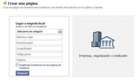 Ingresar datos para crear página en facebook