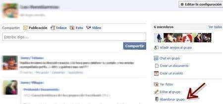Abandonar grupos de Facebook