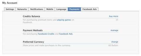 acceder a creditos facebook