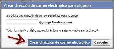 cuadro crear correo grupo facebook