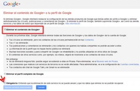 borrar perfil en google plus