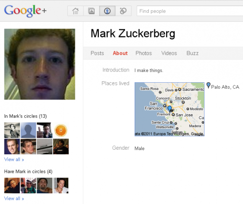 Mark Zuckerberg en Google plus