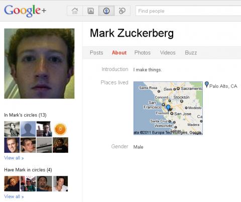 Mark Zuckerberg en Google plus
