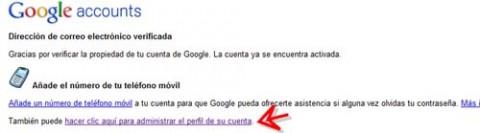 mensaje cuenta activada google