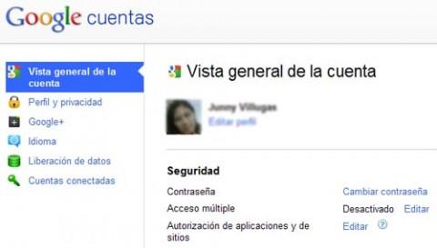 vista general cuenta google