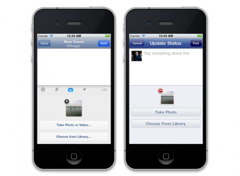 iPhone twitter facebook