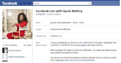 Oprah Winfrey  en facebook