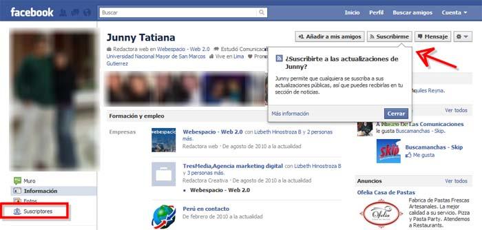 suscribirme en facebook
