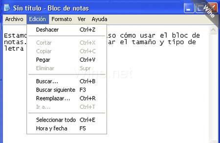 formato fuente notepad