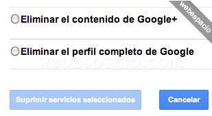 Eliminar cuenta google plus