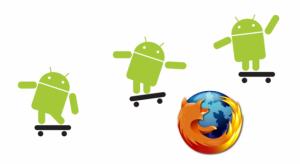 Logos de Android saltando encima de Firefox