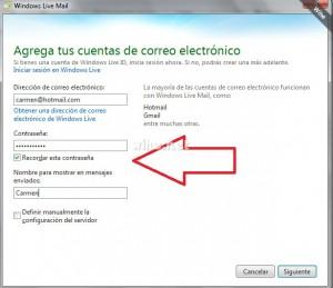 Agregando un correo electrónico en Windows Live Mail