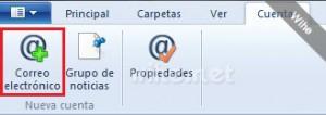 Pestaña Cuentas de Windows Live Mail