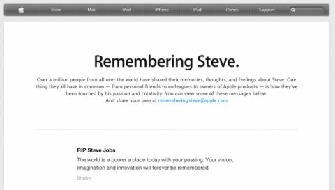 Parte de la página web de Apple donde se homenajea a Steve Jobs