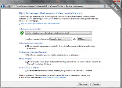 Como debe quedar tu configuración de Windows Update