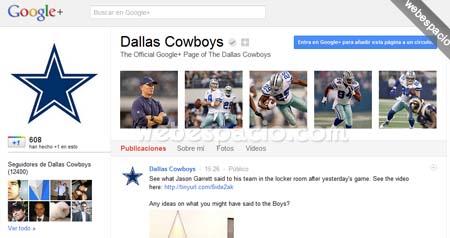 Dallas cowboys en gooogle plus