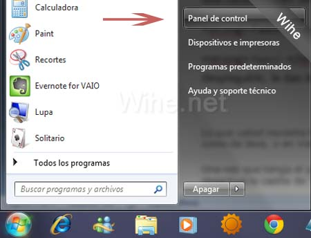 Panel de control de Windows