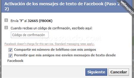 activar sms facebook