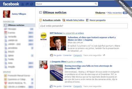 feed cronológico de noticias de Facebook
