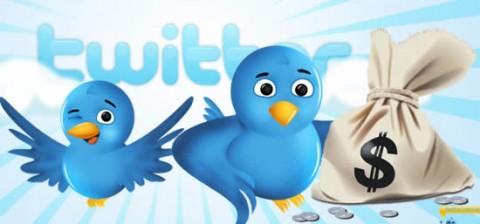 Logo de Twitter con bolsas de dinero
