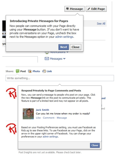 Facebook ya permite mensajes privados entre páginas y usuarios
