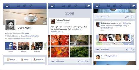 El nuevo perfil Facebook Timeline llegó a los móviles