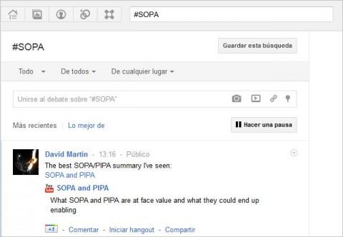 Google+ permite publicar directamente desde sus resultados de búsqueda