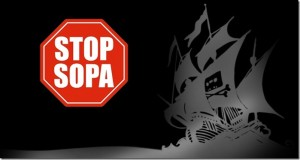 Logo de Sopa y The Pirate Bay