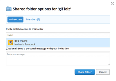 Dropbox se integra con Facebook para compartir carpetas en línea