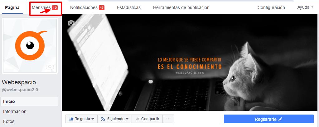 mensajes de página de facebook
