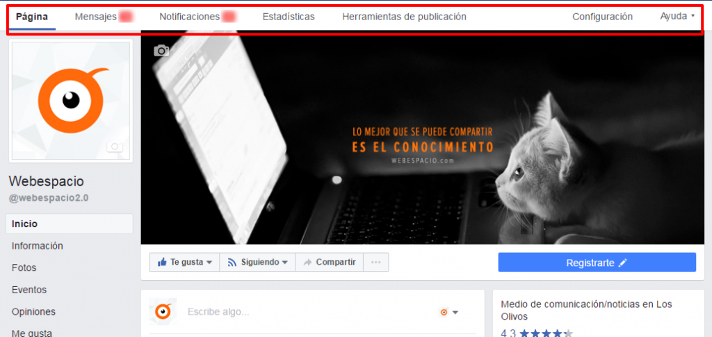biografia página de facebook