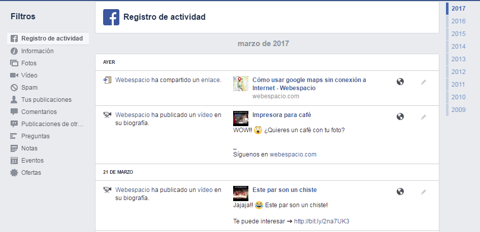registro de actividad fanspage