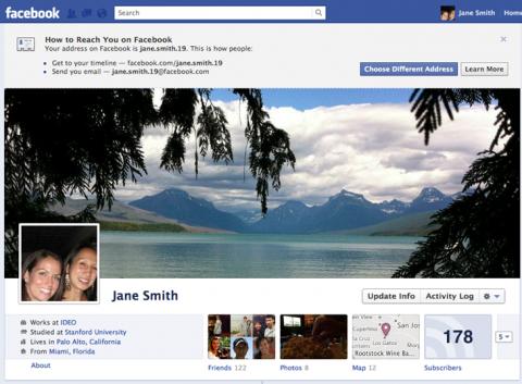 Facebook: tu nombre de usuario será tu dirección de correo