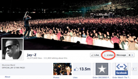 """Facebook añade botón """"Listen"""" para páginas de músicos"""