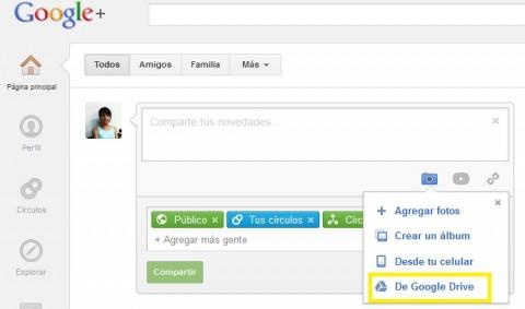 Comparte fácilmente imágenes en Google+  con Google Drive