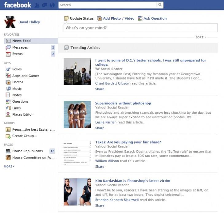 """Facebook prueba """"trending articles"""" en el suministro de noticias"""