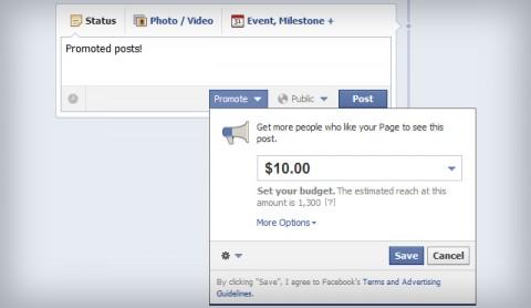 """Facebook botón """"Promocionar"""""""