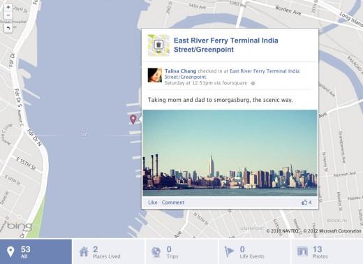 check-in Foursquare en Facebook